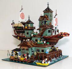 Lego Ninjago Fishing Island - With Full Interior, album in comments : lego Lego Winter Village, Lego Village, Lego Ninjago City, Lego City, Legos, Lego Lego, Lego Batmobile, Lego Boat, Lego Sculptures