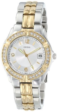 Guess Women's Dazzling Sporty Mixed-Metal Watch       A gold plated stainless steel case sets the stage for a study in contrast, courtesy of a black dial with gold tone Arabic numerals and hands.     Quartz movement     silicone strap     Water-resistant to 99 feet (30 M)