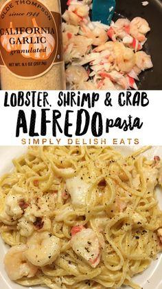 My new favorite pasta recipe Easy Creamy Seafood Alfredo Recipe with step byalfredo Crab Pasta Recipes, Fish Recipes, Seafood Recipes, Cooking Recipes, Healthy Recipes, Crab Shrimp Pasta Recipe, Creamy Lobster Sauce Recipe, Easy Lobster Recipes, Snacks Recipes