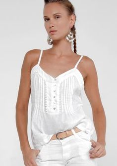 100% Linen Baby-doll Tank in White   Shop   Claudio Basic