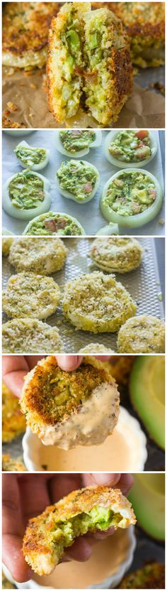 Wedding Food Baked Guacamole Stuffed Onion Rings with Chipotle Dipping Sauce (Video) - This recipe makes about 36 onion rings and serves 6 people. Avocado Recipes, Vegetarian Recipes, Cooking Recipes, Healthy Recipes, Potato Recipes, Vegetable Recipes, Chipotle, Finger Food Appetizers, Appetizer Recipes