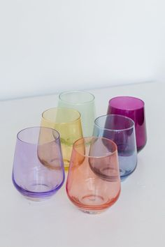 Estelle Colored Wine Stemless Set of 6 (Mixed Set) – Estelle Colored Glass Colored Wine Glasses, Colored Glass, Glass Cakes, Kitchen Necessities, Stemless Wine Glasses, Gifts For Wine Lovers, Glass Collection, Mint Green, Amethyst