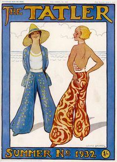Cover of Tatler magazine showing women in pyjamas