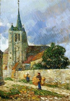 "Childe Hassam (1859-1935, Americain) ~ ""Scène de Village Breton"", 1887"