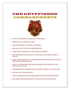 THE #GRYFFINDOR Commandments