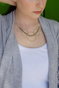 Multiple Ripple Statement Necklace  ~peridot and sterling silver Found on EmilyClaireStudio.com