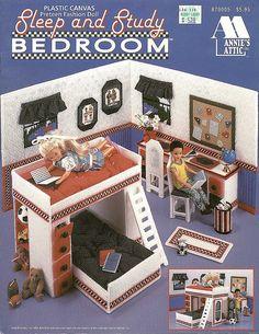 Barbie Sister Skipper Sleep and Study Bedroom Plastic Canvas Pattern Book Diy Barbie Furniture, Dollhouse Furniture, Crochet Furniture, Bedroom Furniture, Plastic Canvas Crafts, Plastic Canvas Patterns, Plastic Craft, Plastic Mesh, Plastic Doll