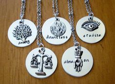 Divergent Inspired Factions Necklace. Dauntless, Candor, Abnegation, Amity, Erudite. Tris. Silver colored, charm pendant, jewelry.