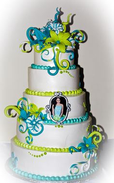 """Aqua and greem - :Quinceanera  cake"""" was made with wip icing  as frosting and  touch it with fondant details. The frame is made with fondant too."""