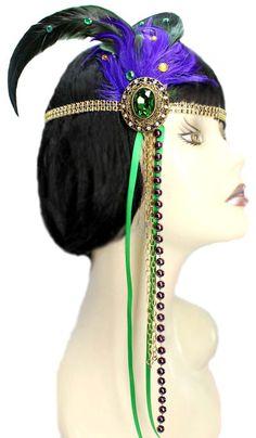 Flapper Headband Mardi Gras Jewel Roaring 20's by JenkittysCloset