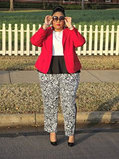 love the printed tuxedo pants... I would wear with hot pink or yellow neon, but red looks GREAT on her!