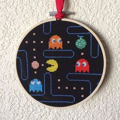 Most up-to-date Pic Cross Stitch art Strategies Pacman Scene Cross Stitch Completed Geek Cross Stitch, Cross Stitch Quotes, Funny Cross Stitch Patterns, Simple Cross Stitch, Cross Stitch Flowers, Cross Stitch Designs, Cross Stitching, Cross Stitch Embroidery, Embroidery Patterns