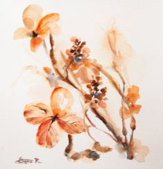 Original  Abstract Watercolor Painting. Orange by CanotStop, $52.00