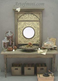1:12 DOLLHOUSE mini meubles cadre européen modèle miroir Vintage/_R