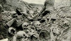 Excavation of a trench near Ft. Douaumont, at Verdun battlefield show ghastly remains that emphasize the large scale of devastation and human loss during the battle-while history prefers to talk about these deaths as nothing more than statistics, pictures like these help give a sense of the horror faced by soldiers on the battlefield. CT.