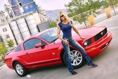 Lisa McElmurry and her Torch Red 2009 Anniversary Edition Mustang — StangBangers 2009 Ford Mustang, Ford Mustangs, Car Girls, Dream Cars, Pin Up, Lisa, Anniversary, Red, Models