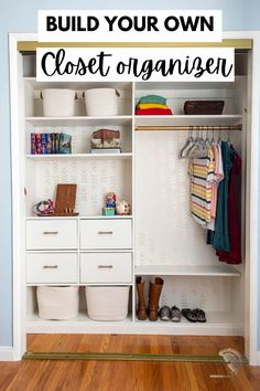 DIY closet organizer tutorial to show you how to make an easy and customizable wood organizer for your clothes. Great weekend project for beginner woodworkers. #anikasdiylife Scrap Wood Projects, Beginner Woodworking Projects, Diy Furniture Projects, Diy Woodworking, Furniture Plans, Furniture Makers, Diy Projects, Organizing Your Home, Organizing Ideas