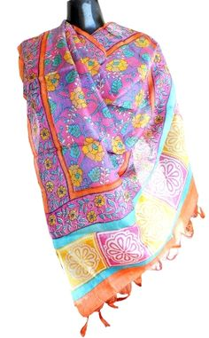 Printed Tussar Silk Dupatta- Mauve: GiftPiper.com. This gorgeous pure tussar silk dupatta has a lovely floral pattern on it.
