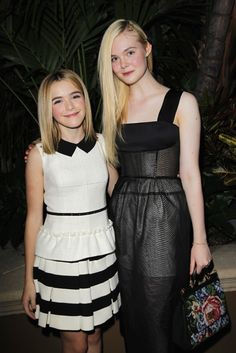 Kiernan Shipka in Moschino and Elle Fanning in Calvin Klein Collection at Elle's Women in Hollywood Party