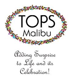 What's in a Surprize Ball? TOPS Malibu What's in a Surpize Ball? [WIASB] - - It's Free! : TOPS Malibu, Add Surprise to Life & its Celebration. Our specialty to make your party memorable by the sharing of wonderment, spontaneity, intuition and interaction. Products include Surprise Balls, Number and letter sparklers, Surprize Cornucopia and Surprise Cones. Enjoy!