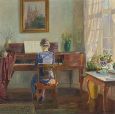 Living room interior with a woman playing the piano - Robert Panitzsch , 1944 Danish, Oil on canvas. Piano Room, Light Painting, Beautiful Paintings, Danish, 19th Century, Oil On Canvas, Concept, Classic, Artist
