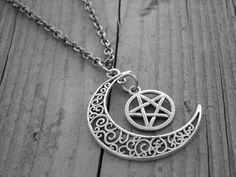Silver Moon Necklace Moon Jewelry Pentagram by InkandRoses13