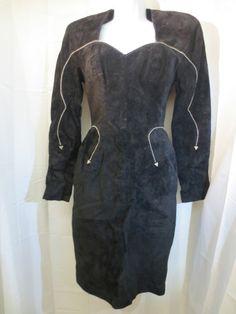 Michael Hoban North Beach Leather Little Black Dress Silver Bead Trim XS EUC