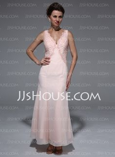 Mother of the Bride Dresses - $172.99 - Mermaid V-neck Ankle-Length Chiffon Mother of the Bride Dress With Beading (008033519) http://jjshouse.com/Mermaid-V-Neck-Ankle-Length-Chiffon-Mother-Of-The-Bride-Dress-With-Beading-008033519-g33519