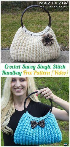 Crochet Savvy Single Stitch Handbag Tote Free Pattern [Video] - #Crochet Handbag Free Patterns