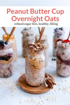 These healthy and filling overnight oats taste just like a peanut butter cup but are actually good for you. Great for meal prep and made without refined sugars! A perfect breakfast, this healthy recipe from Slender Kitchen is MyWW SmartPoints compliant and is gluten free and vegetarian. #kidfriendly #makeahead #quickandeasy Good Healthy Recipes, Ww Recipes, Oats Recipes, Delicious Vegan Recipes, Healthy Eats, Healthy Life, Vegetarian Recipes, Healthy Living, Slender Kitchen