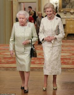 Faithful friend: The Queen with her cousin Princess Alexandra at Buckingham Palace last month. The 'girls' — Queen and Princess — deliberately matched their diamonds, pearls and even the colour and material of their outfits; the hidden message being 'tonight we're equals'