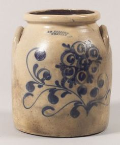 Massachusetts ~ Salt-glazed, Wide-mouth Jar with Straight Sides & Lug Handles . Sides decorated with Cobalt Blue Freehand Painted Stylised Flowers . Antique Crocks, Old Crocks, Antique Stoneware, Stoneware Crocks, Stoneware Clay, Earthenware, Glazes For Pottery, Ceramic Pottery, Pottery Art