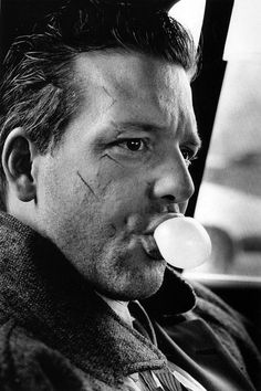 Back when when he was hot and we all thought he was normal. Mickey Rourke, 1986  Photo by Helmut Newton