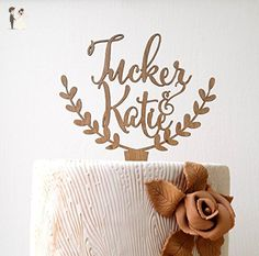 Personalized rustic wedding cake topper, custom cake topper, rustic wedding cake topper, names cake topper - Cake and cupcake toppers (*Amazon Partner-Link)