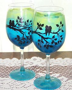Bird Sihouette Wine Glasses by BonnysBoutique on Etsy, $22.00