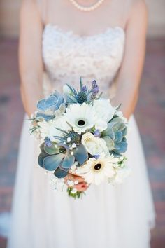 Succulent, Gerber Daisy, and Lavender Wedding Bouquet | Blue Hills Photography on /fabyoubliss/ via /aislesociety/