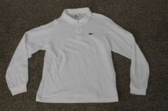 Lacoste Boys Long Sleeve 100% Cotton Polo Shirt White Size 12 #Lacoste #Everyday