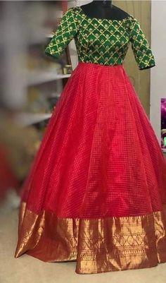 Silk Kurti Designs, Half Saree Designs, Fancy Blouse Designs, Bridal Blouse Designs, Kalamkari Dresses, Ikkat Dresses, Long Gown Dress, Long Frock, Frock Fashion