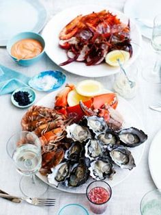 Seafood Platter with a Trio of Dipping Sauces #Bretagne #brittany #France #tourism