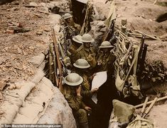"""Jun 11 1917 in WWI thisdayinwwi: """" IWM (Q """"Soldiers, probably from the Battalion, the East Surrey Regiment, seen in a British communication trench in Ploegsteert Wood, during the Battle of. Battle Of Messines, Battle Of The Somme, World War One, First World, Ww1 Pictures, Gay Rights Movement, Ww1 Soldiers, Canadian History, Total War"""