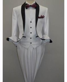 The black and white dinner jacket paired with black bow tie and black tuxedo dress pants. You need this in your wedding day.