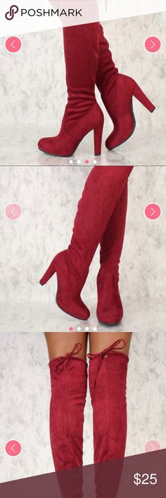 Wine Round Toe Chucky Thigh High Boots Faux Suede Wine colors thigh high boots and drawstring Shoes Over the Knee Boots