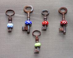 Schlüssel zum Glück ................., lampwork, glass beads, Schlüssel mit Glasperle,