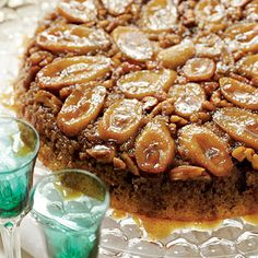 Bananas Foster Upside-Down Cake Recipe | One quick flip and Bananas Foster Upside-Down Cake tumbles from the skillet perfectly golden and party ready with the familiar flavors of Bananas Foster. #Thanksgiving Recipes