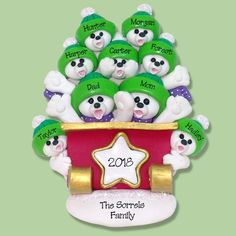 Polar Bear Family Of 9 In Sleigh Handmade Polymer Clay Ornament Personalized Christmas Limited Edition