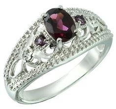 Rhodolite Garnet 1.07 Carats Sterling Silver Ring available at joyfulcrown.com
