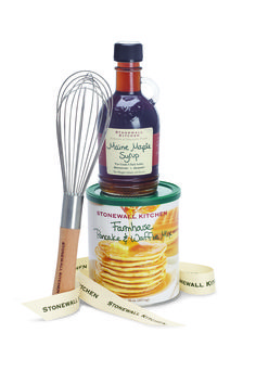 Makes a gift anyone can enjoy. Comes complete with a bottle of Pure Grade A Dark Amber Maine Maple Syrup and a canister of Stonewall Kitchen's top-selling Farmhouse Pancake and Waffle Mix.  Also includes a stainless steel whisk. Wrapped in a clear gift bag and tied with a grosgrain ribbon.