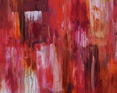 Red Door, Abstract Art, Original Acrylic Painting, Abstract Painting, Red, Dripping Paint, Aged, Distressed