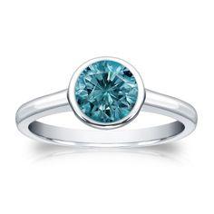 Auriya 14k Gold 1ct TDW Round Blue Diamond Solitaire Bezel Ring (Blue, I1-I2) (Rose Gold - Size 7), Women's, Pink