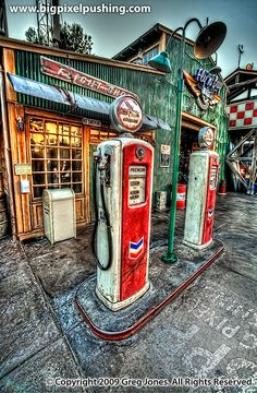 "Disney's California Adventure-""Condor Flats and Chevron Gas"" by Greg Jones Vintage Diner, Vintage Signs, Vintage Ads, Old Gas Pumps, Vintage Gas Pumps, Route 66, Old Garage, Garage Bar, Greg Jones"